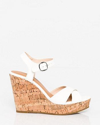 Leather-Like Open Toe Wedge Sandal