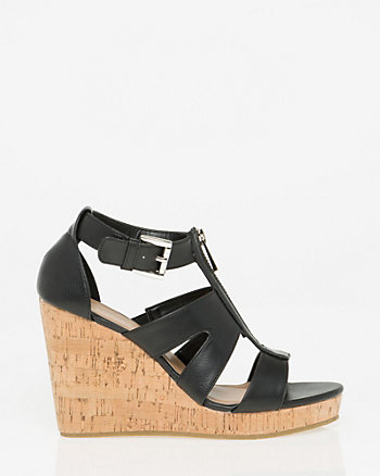Leather-Like Gladiator Wedge Sandal