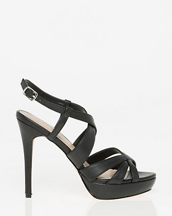 Leather-Like Criss-Cross Platform Sandal