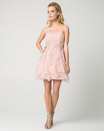Sparkle Mesh Strapless Party Dress