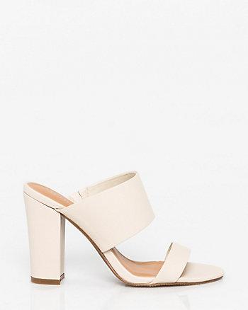 Leather-Like Double Band Mule