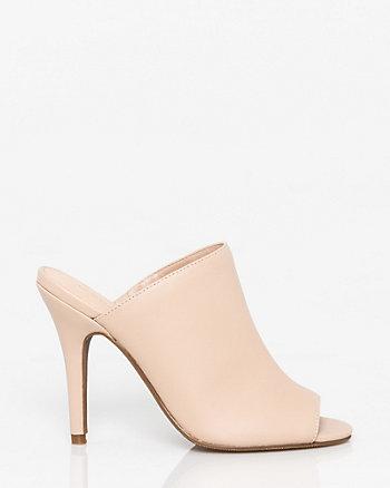 Leather-Like Open Toe Mule