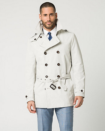 Cotton Blend Spread Collar Trench