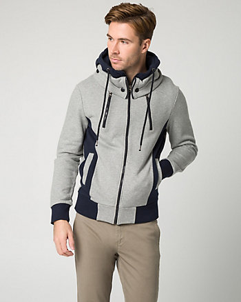 Colour Block Cotton Blend Hoodie
