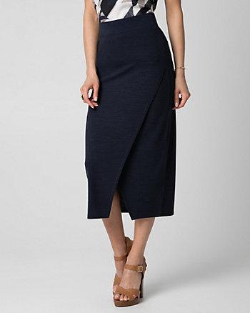 Cut & Sew Knit Asymmetrical Midi Skirt