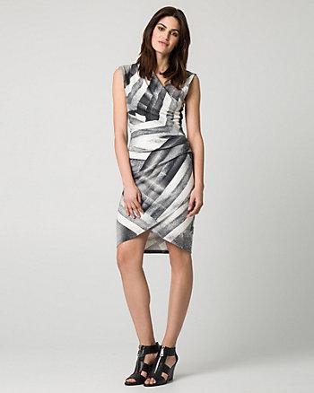 Patchwork Print Ponte Faux Wrap Dress