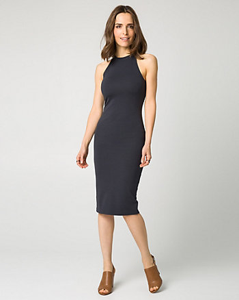 Ponte Halter Neck Midi Dress