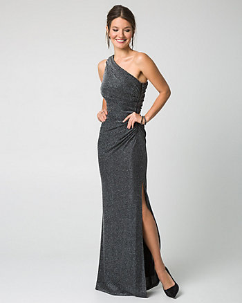 Sparkle Knit One Shoulder Gown