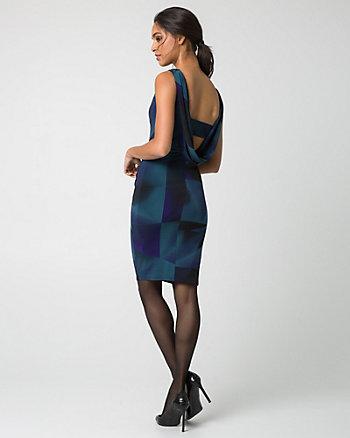 Robe cocktail à motif géométrique en tricot