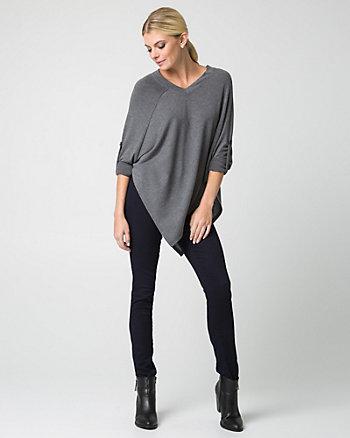 Sweater Knit V-Neck Poncho