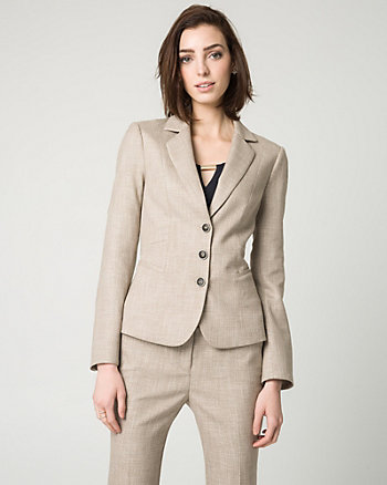 Stretch Viscose Blend Notch Collar Blazer