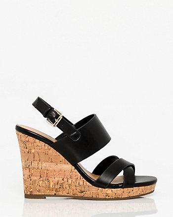 Leather-Like Wedge Sandal