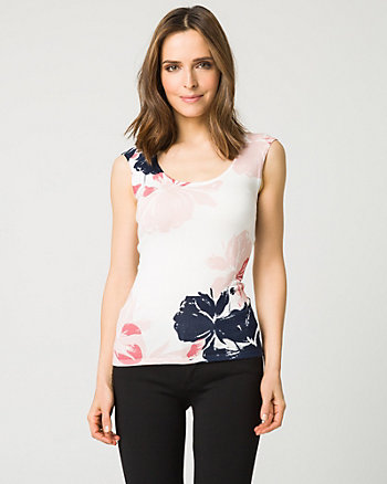 Floral Print Viscose Blend Sweater Shell