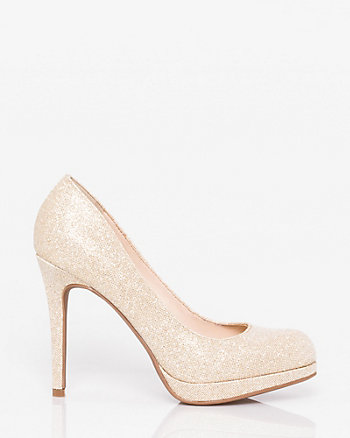 Glitter Almond Toe Platform Pump