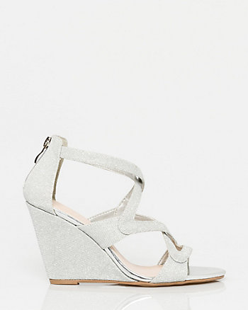 Metallic Criss-Cross Wedge Sandal
