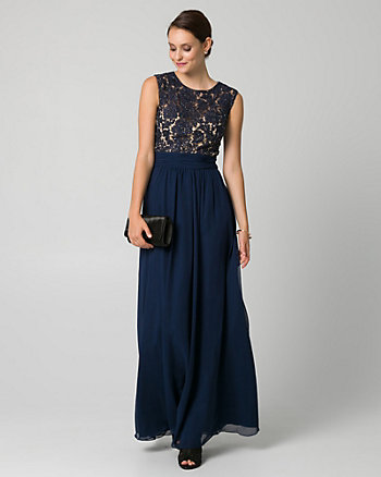Embellished Lace & Chiffon Scoop Neck Gown