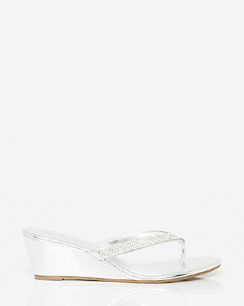 Embellished Leather-Like Wedge Sandal