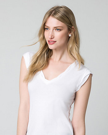 Cotton & Modal Blend V-Neck Top