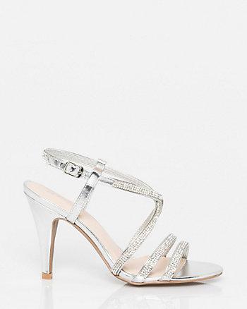 Jewel & Leather-Like Strappy Sandal