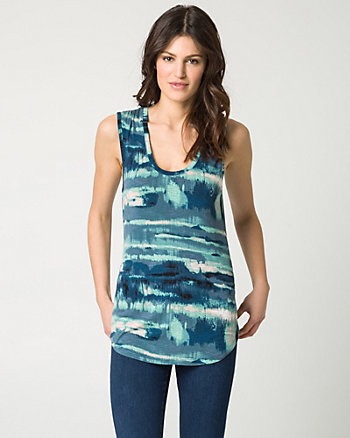 Abstract Print Jersey Scoop Neck Tank