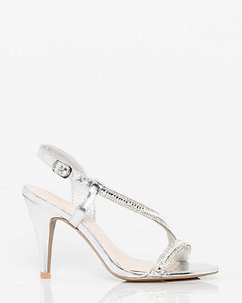 Metallic Leather-Like Asymmetrical Sandal