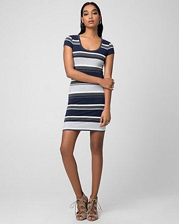 Stripe Jersey Scoop Neck Mini Dress