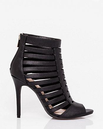 Leather-Like Peep Toe Cage Sandal