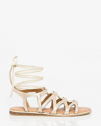 Leather-Like Ghillie Tie Gladiator Sandal