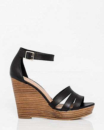 Leather Ankle Strap Wedge Sandal