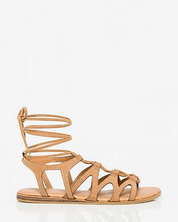 Suede-Like Ghillie Tie Gladiator Sandal