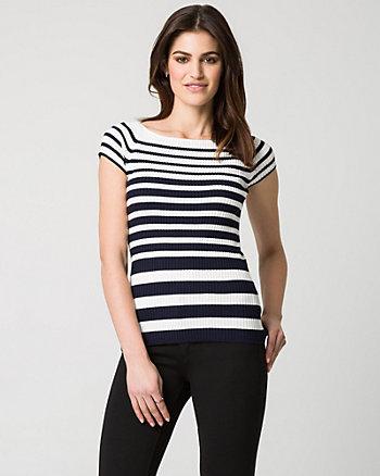 Stripe Viscose Blend Rib Sweater