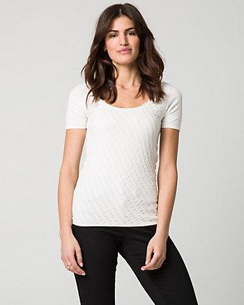 Textured Viscose Blend Scoop Neck Sweater