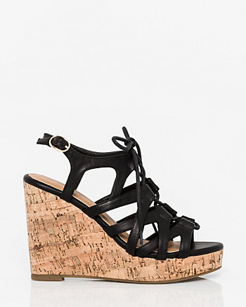 Leather-Like Ghillie Tie Wedge Sandal