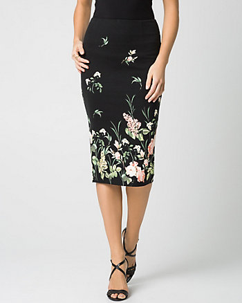 Floral Print Ponte Midi Pencil Skirt