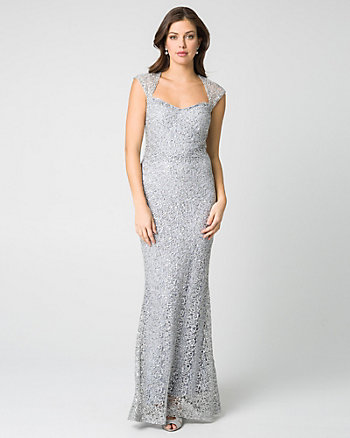 Lace & Sequin Square Neck Gown