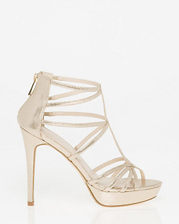 Metallic Foil Peep Toe Strappy Sandal