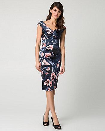 Floral Print Satin V-Neck Cocktail Dress