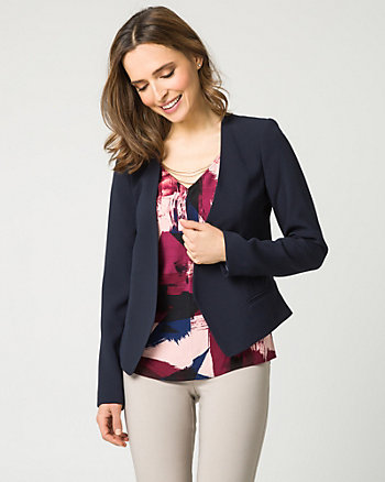 Satin Back Crêpe Open-Front Blazer