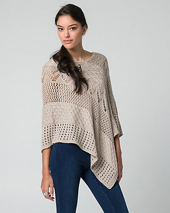 Open-Stitch Knit Poncho
