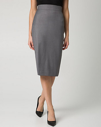 Stretch Gabardine Midi Skirt