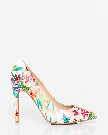 Floral Print Leather-Like Pointy Pump