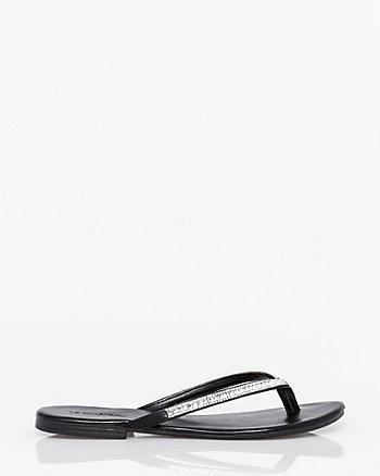 Jewel Embellished Leather-Like Flip Flop