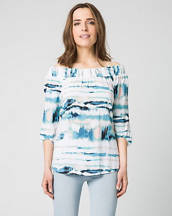 Abstract Print Challis Off-the-Shoulder Top