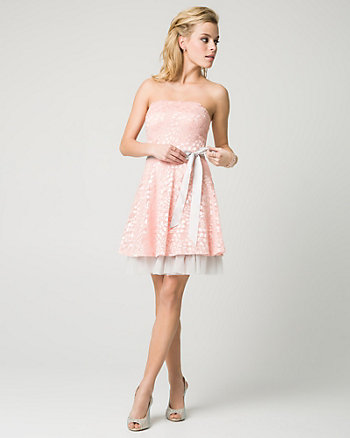 Lace & Mesh Strapless Party Dress