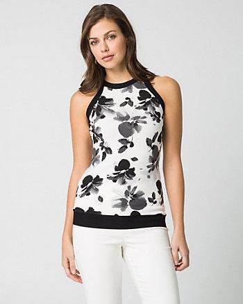 Floral Print Viscose Blend Halter Sweater