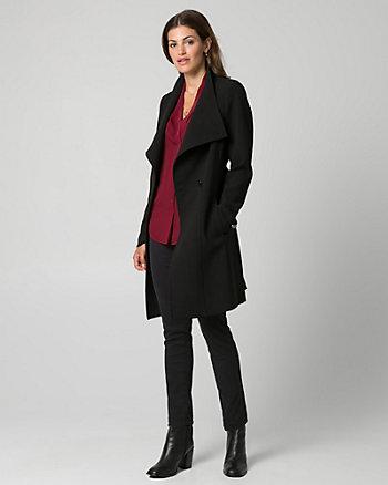 Double Weave Convertible Collar Wrap Coat