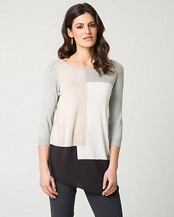 Viscose Blend Block Print Sweater
