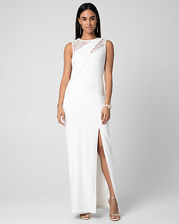 Crêpe-Like Knit & Lace Scoop Neck Gown