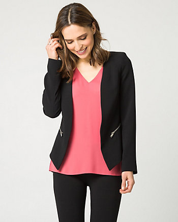 Tricoteen Collarless Open-Front Blazer