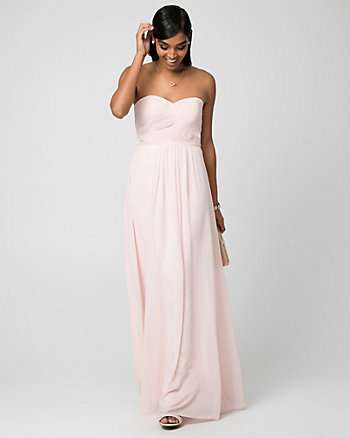 Chiffon Sweetheart Pleated Gown